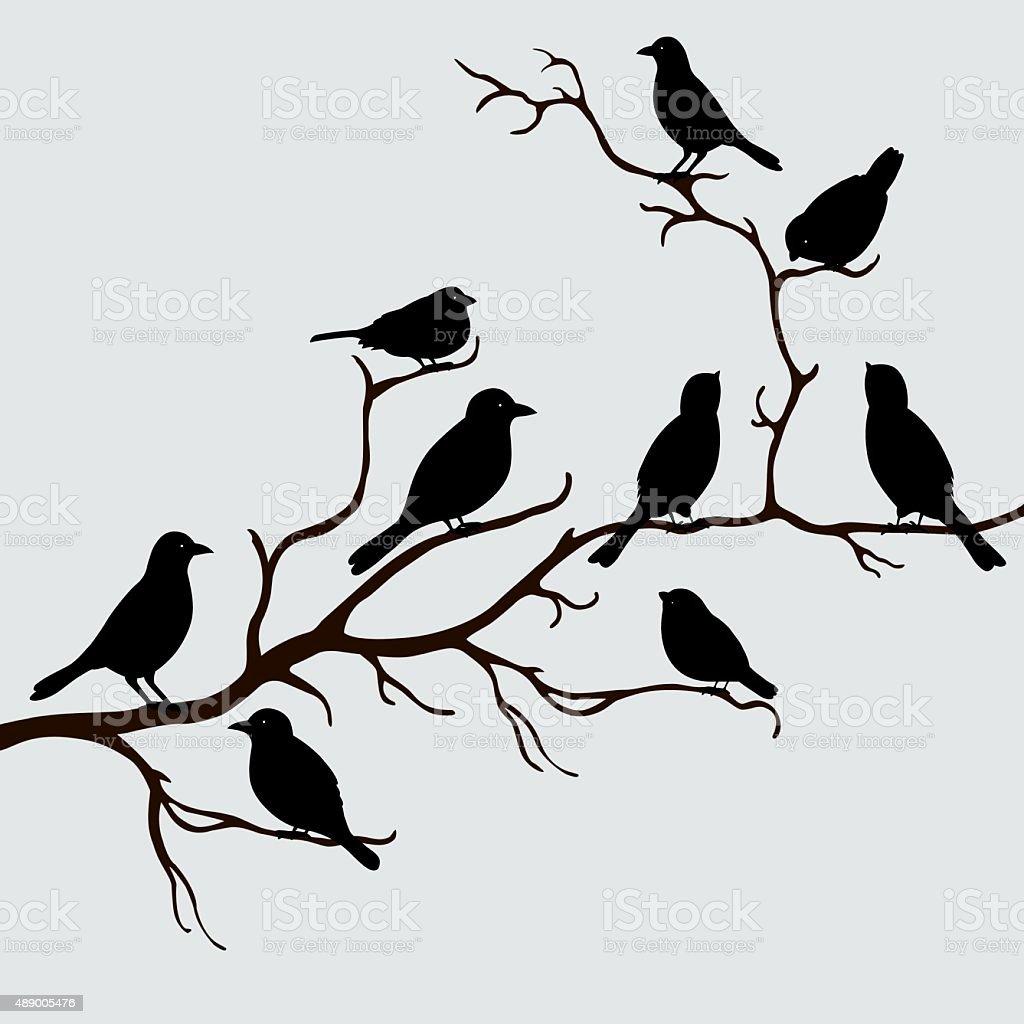 Cute black birds on a branch vector art illustration