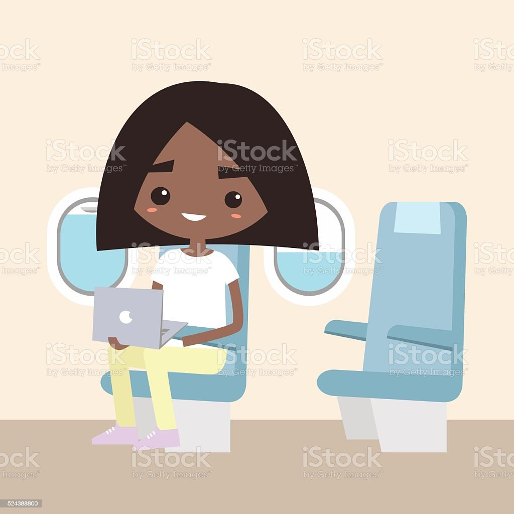 Cute black girl sitting in the aircraft vector art illustration