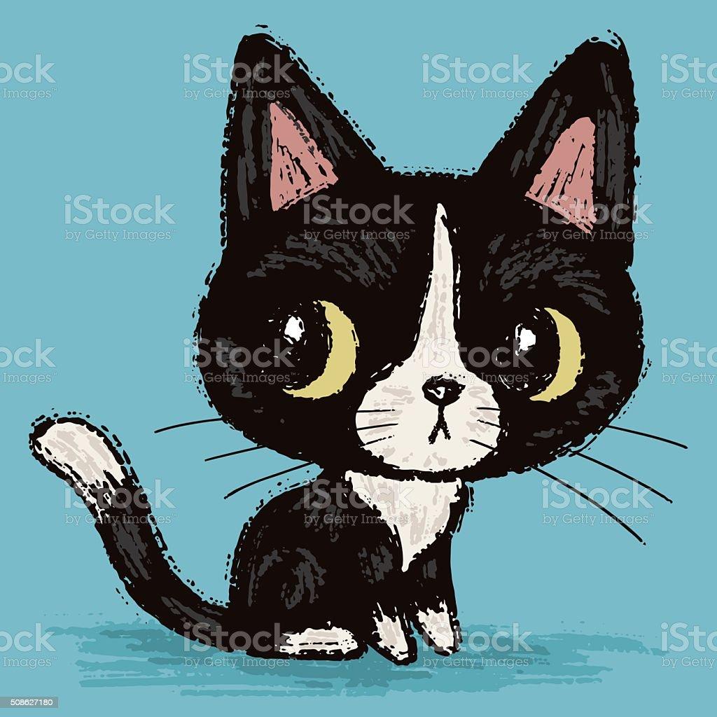 Cute black kitten vector art illustration