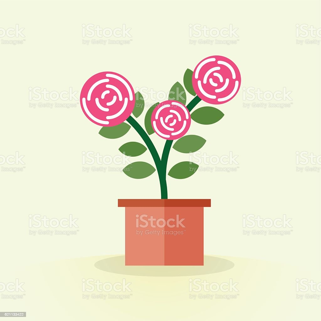 Cute blooming pink flower in pot. Rose flat style. Floriculture vector art illustration