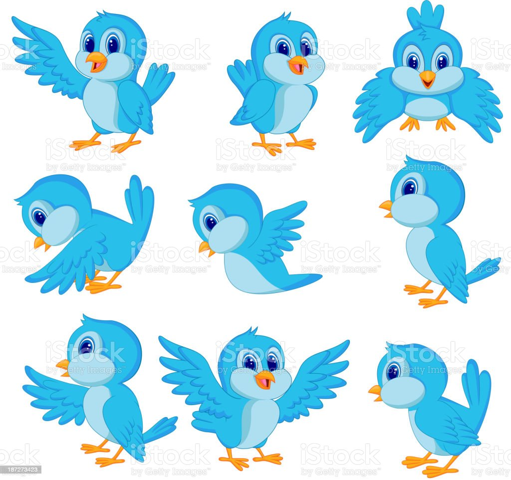 Cute blue bird cartoon vector art illustration