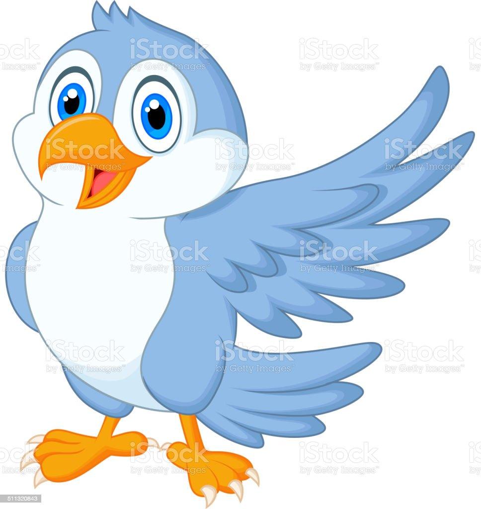 Cute blue bird cartoon waving vector art illustration