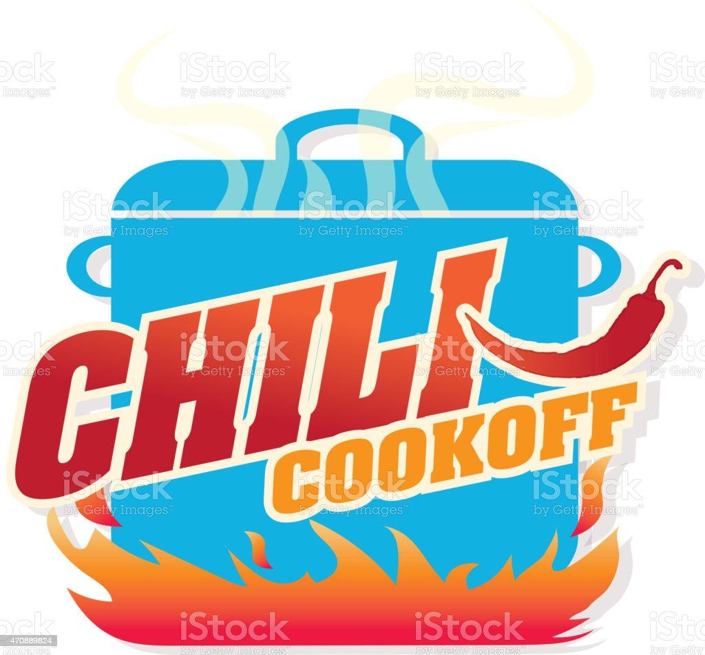 Cute blue Chili pot cookoff event   icon design vector art illustration