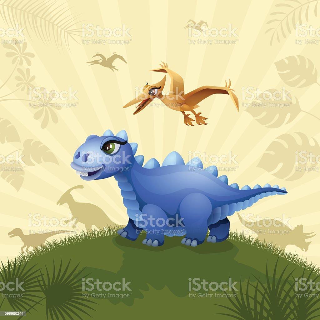 Cute Blue Dinosaur vector art illustration