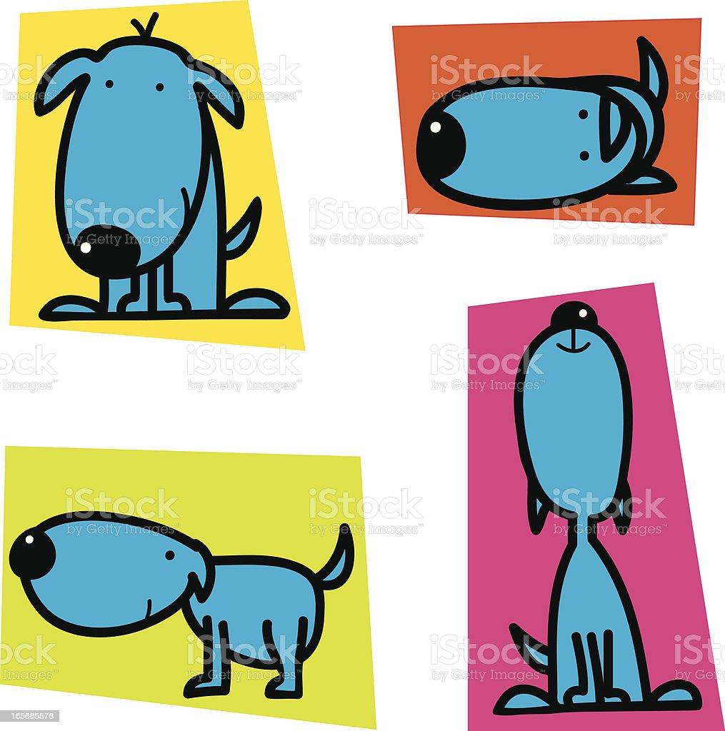 Cute Blue Dog royalty-free stock vector art