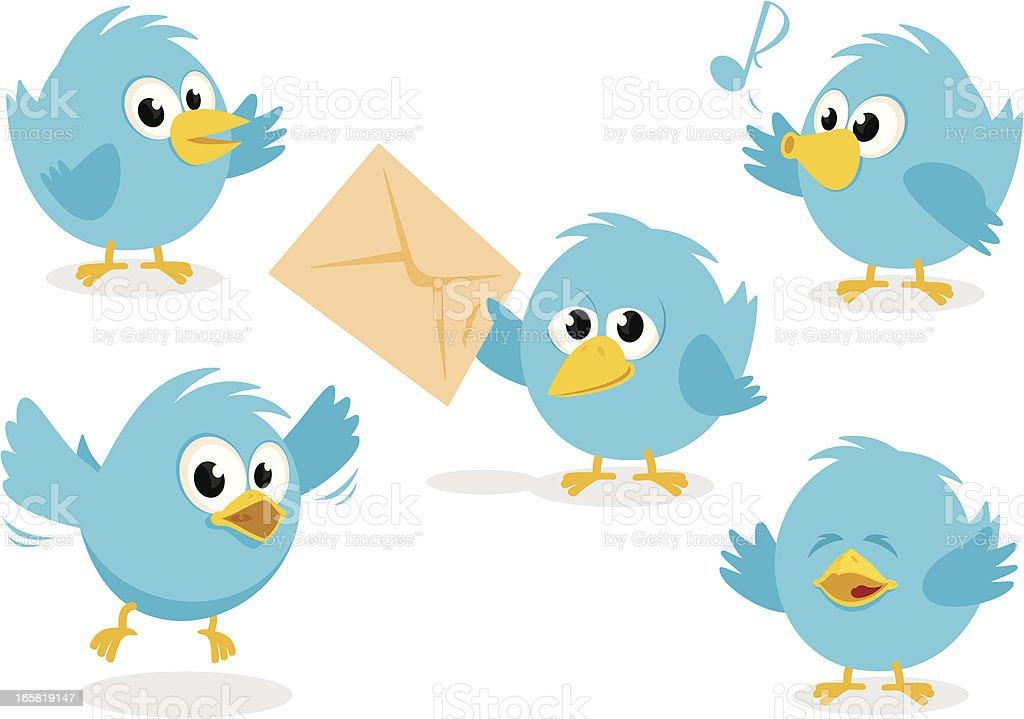Cute Bluebird Set vector art illustration