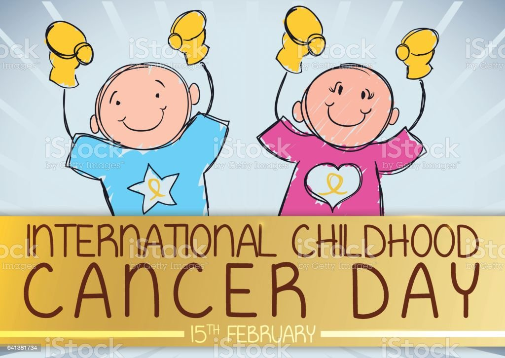 Cute Boy and Girl Commemorating International Childhood Cancer Day vector art illustration