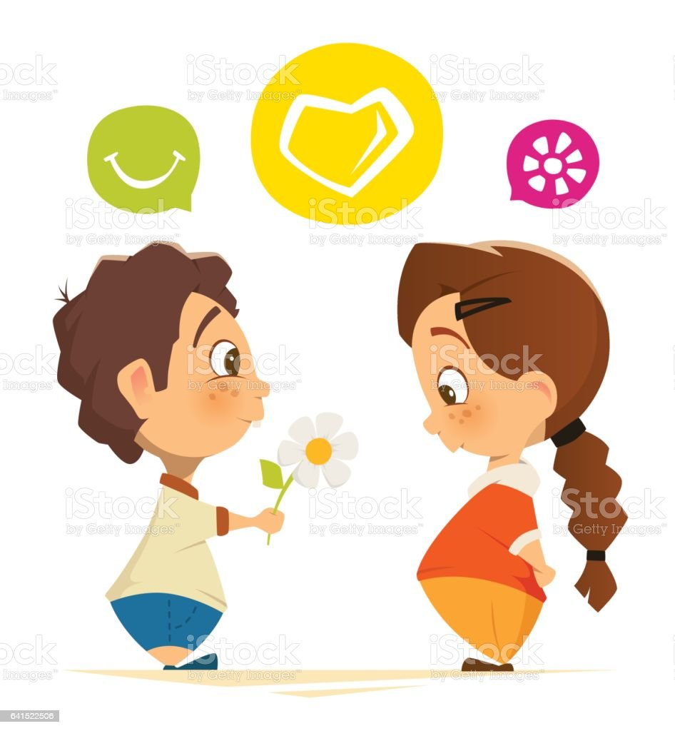 Cute boy and girl in love holding flower vector art illustration
