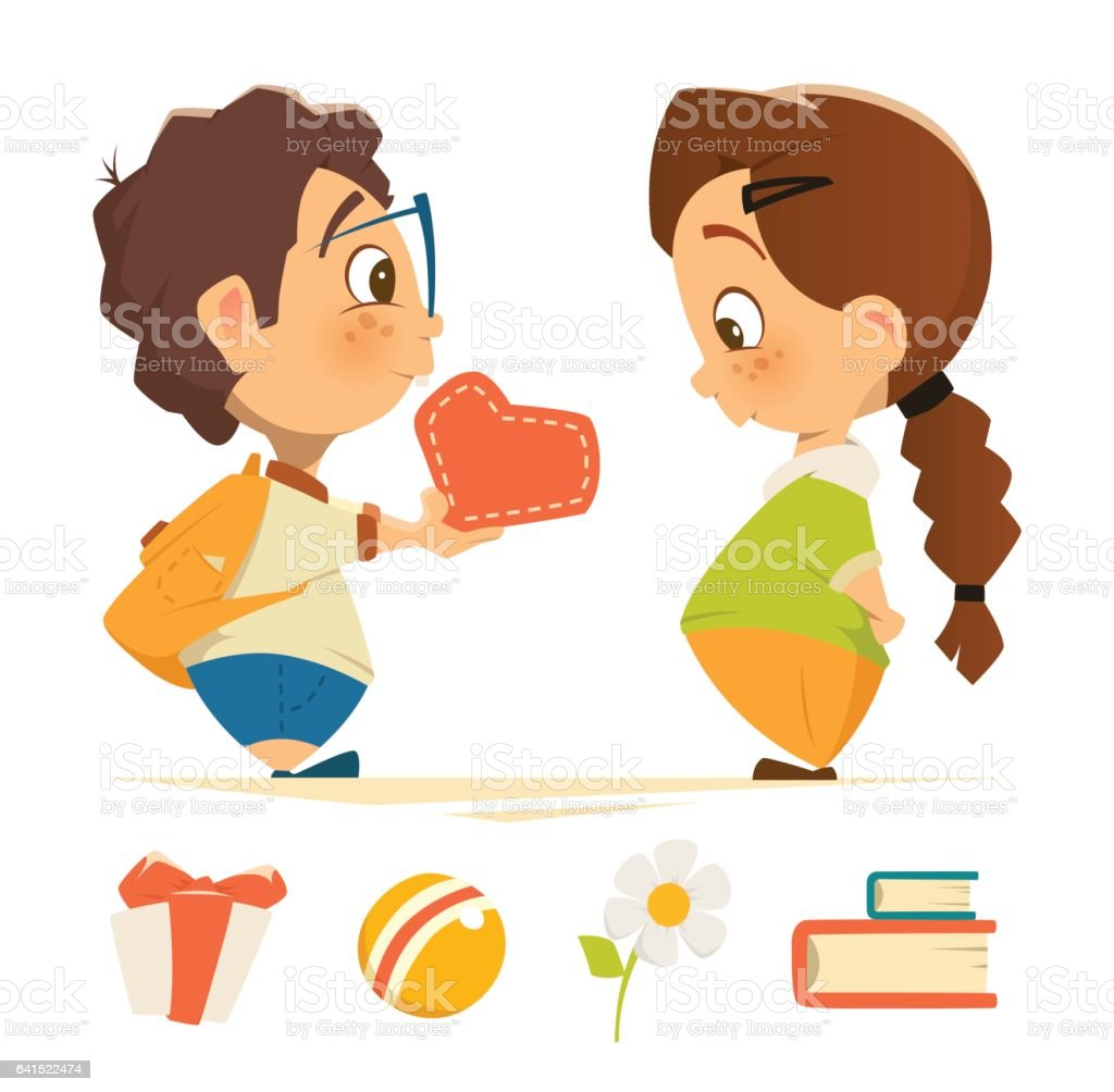 Cute boy and girl in love holding heart vector art illustration