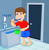 cute boy cartoon brushing teeth in bath room