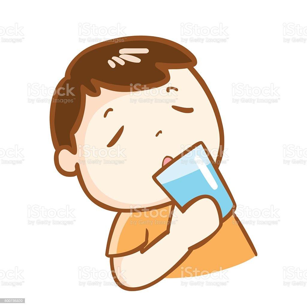 cute boy drinking fresh water character vector vector art illustration