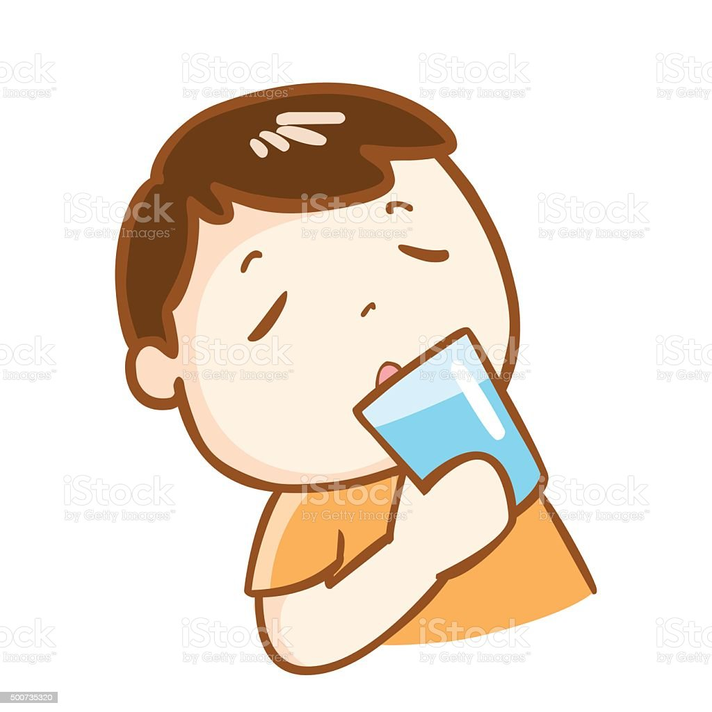 cute boy drinking fresh water character vector vector art illustration