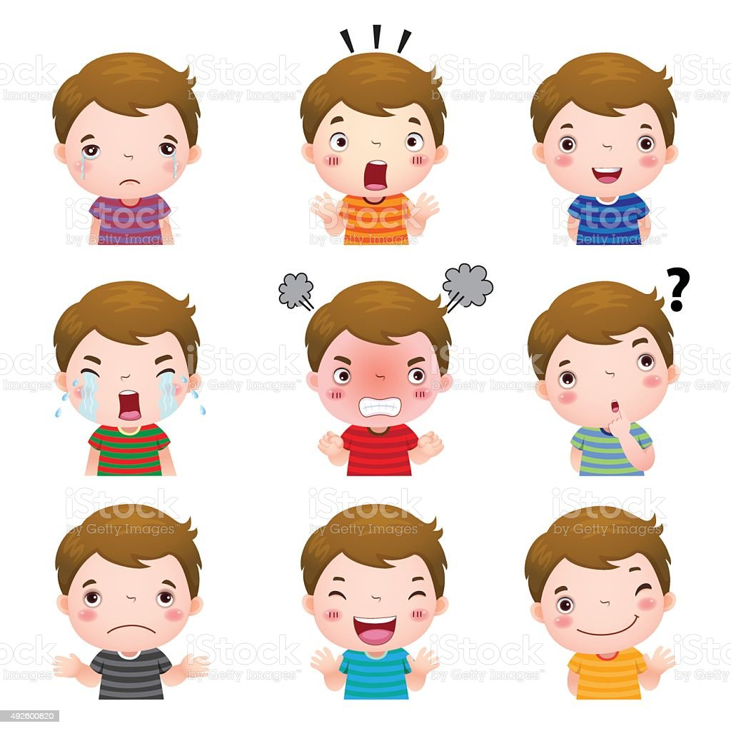 Cute boy faces showing different emotions vector art illustration