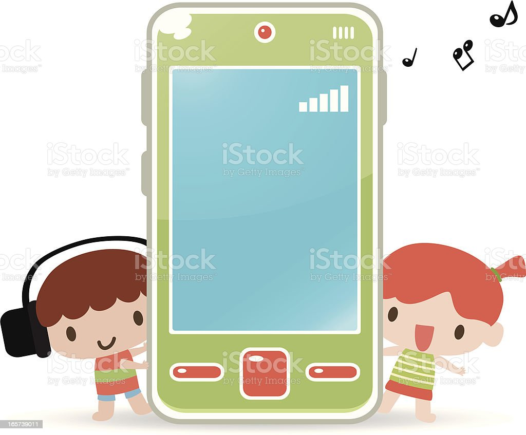 Cute boy girl with cell phone and headphone royalty-free stock vector art