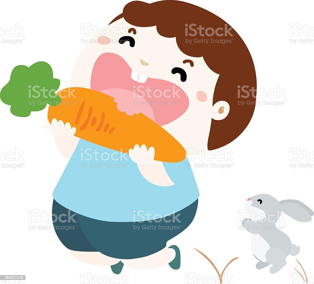 cute boy love to eat vegetable vector illustration vector art illustration