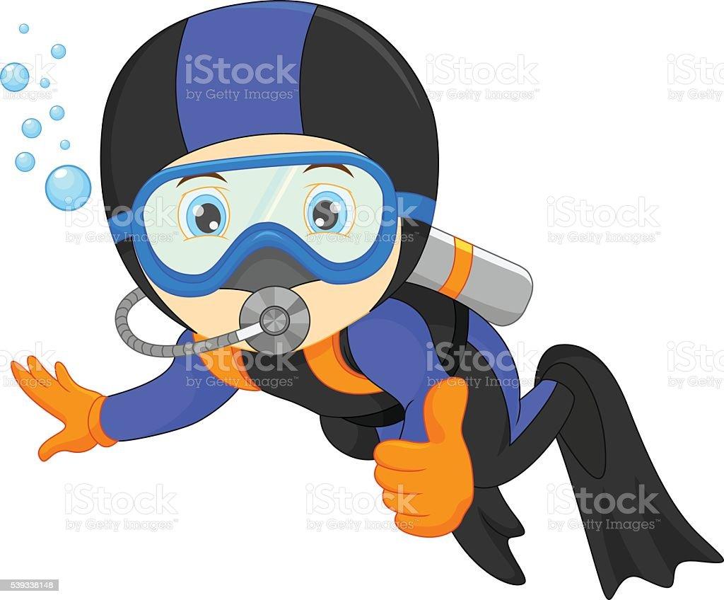 cute boy snorkeling vector art illustration
