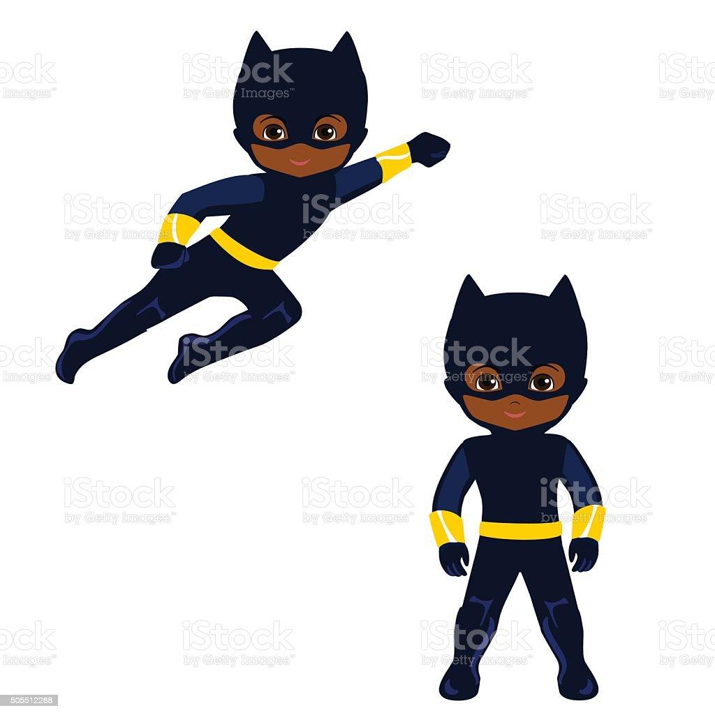 Cute Boy superhero in flight and in standing position vector art illustration