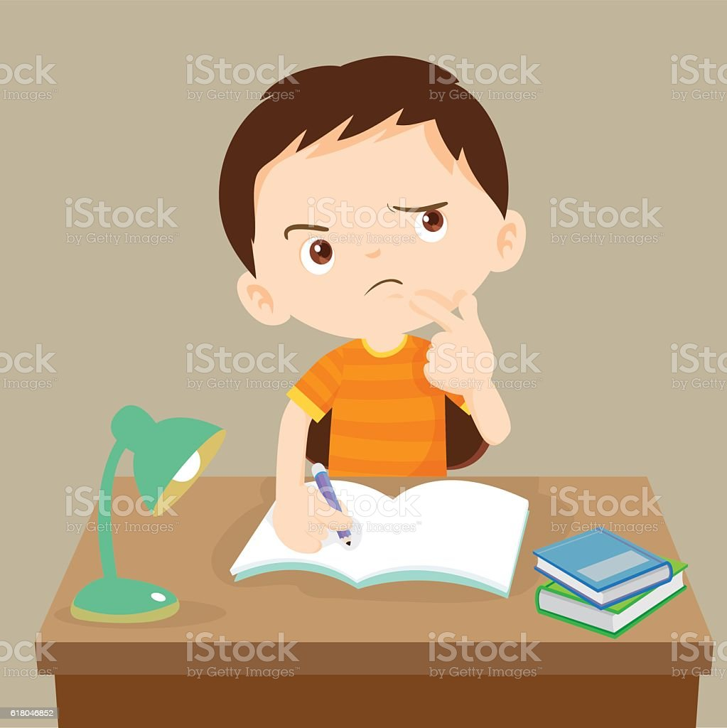 cute boy thinking working on homework vector art illustration