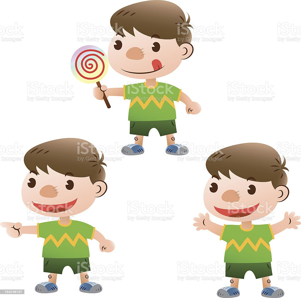 cute boy with 3 actions royalty-free stock vector art