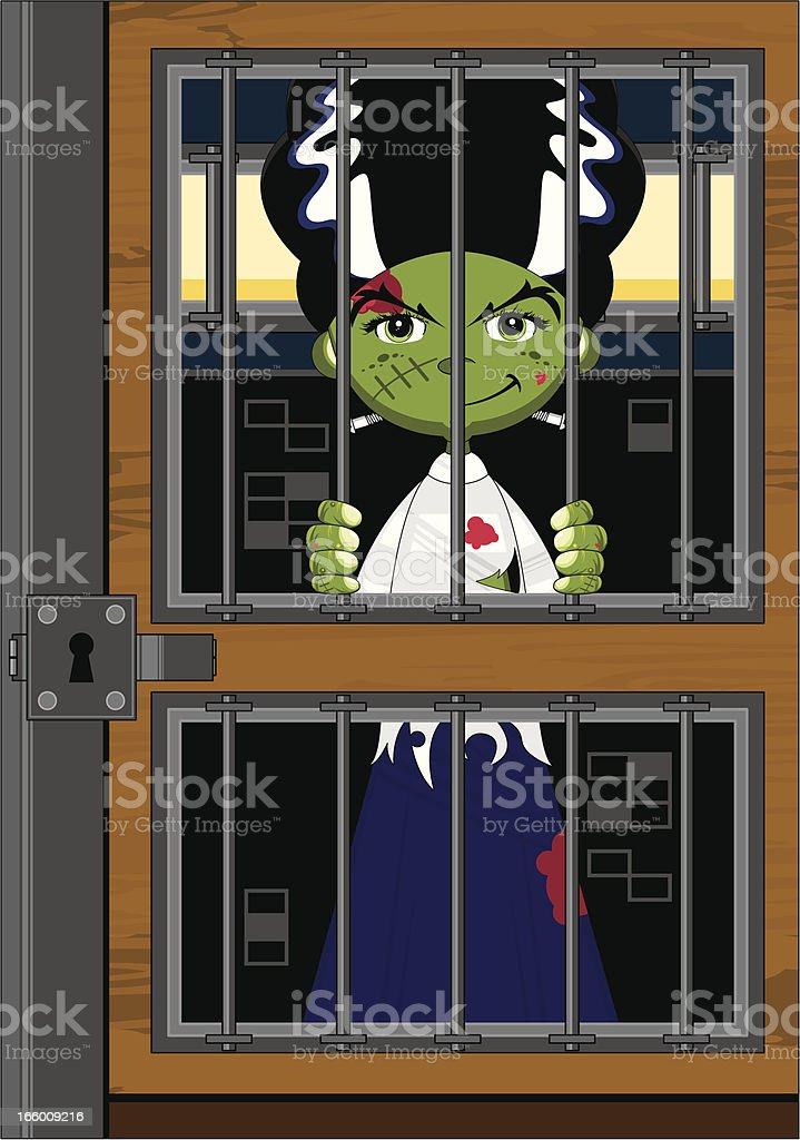 Cute Bride of Frankenstein in Cell royalty-free stock vector art