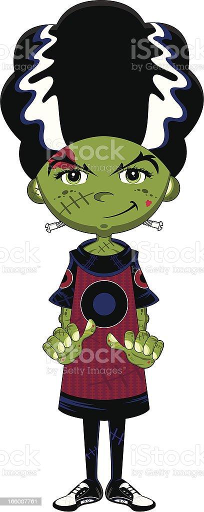 Cute Bride of Frankenstein Monster royalty-free stock vector art
