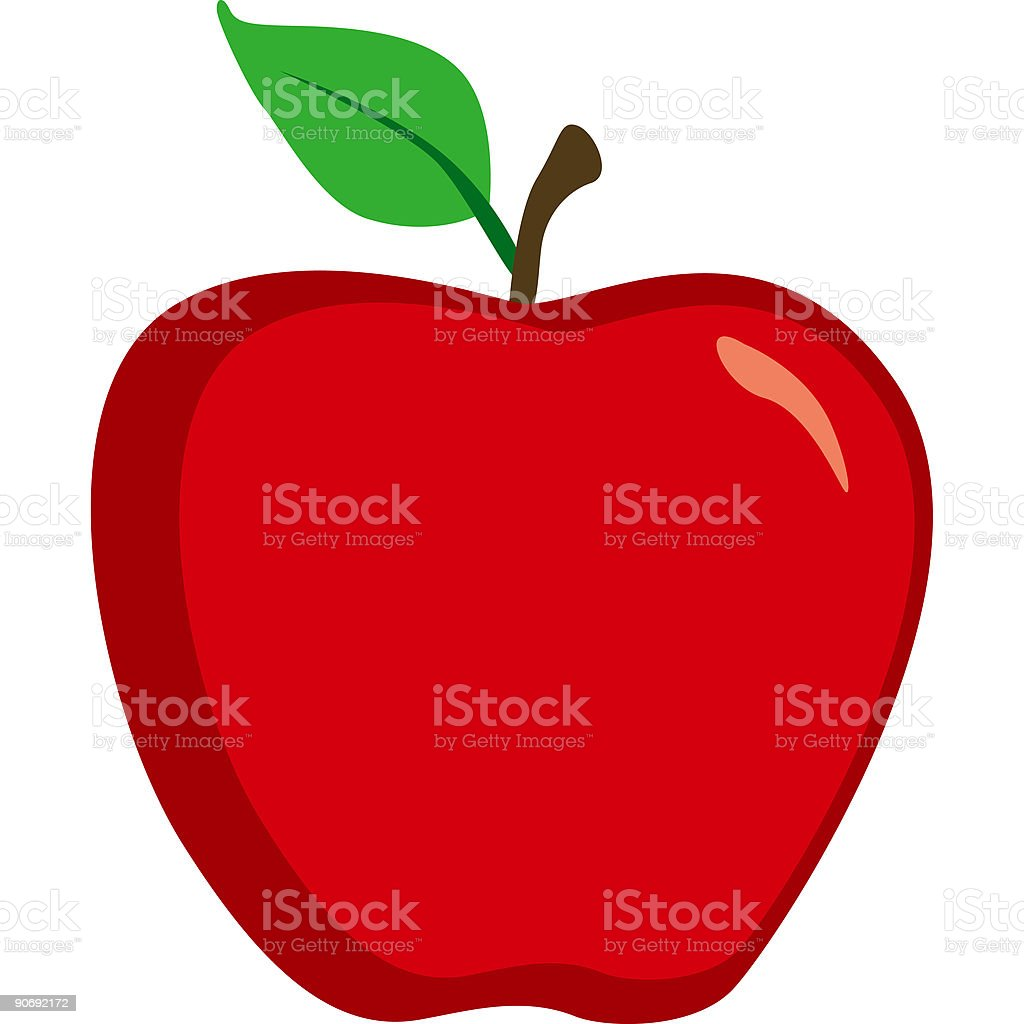 Cute Bright Red Apple Icon Isolated on White vector art illustration