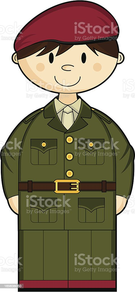 Cute British Army Officer royalty-free stock vector art
