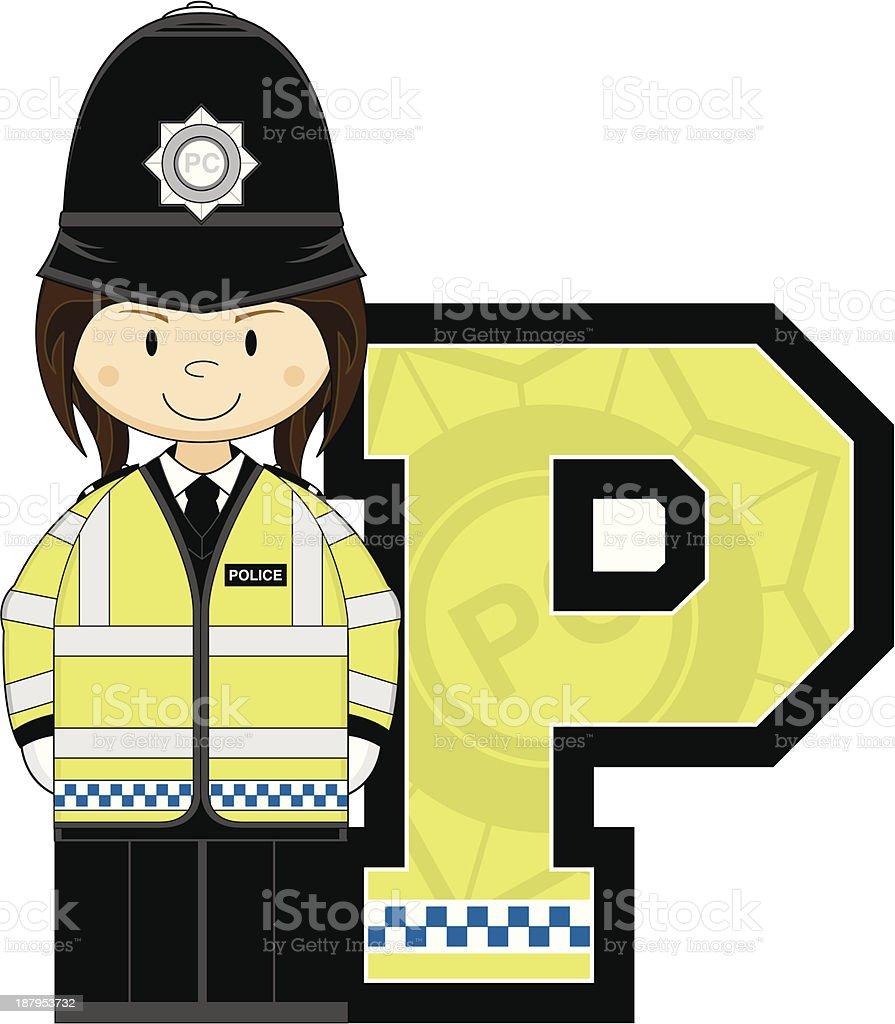 Cute British Policeman Letter P royalty-free stock vector art
