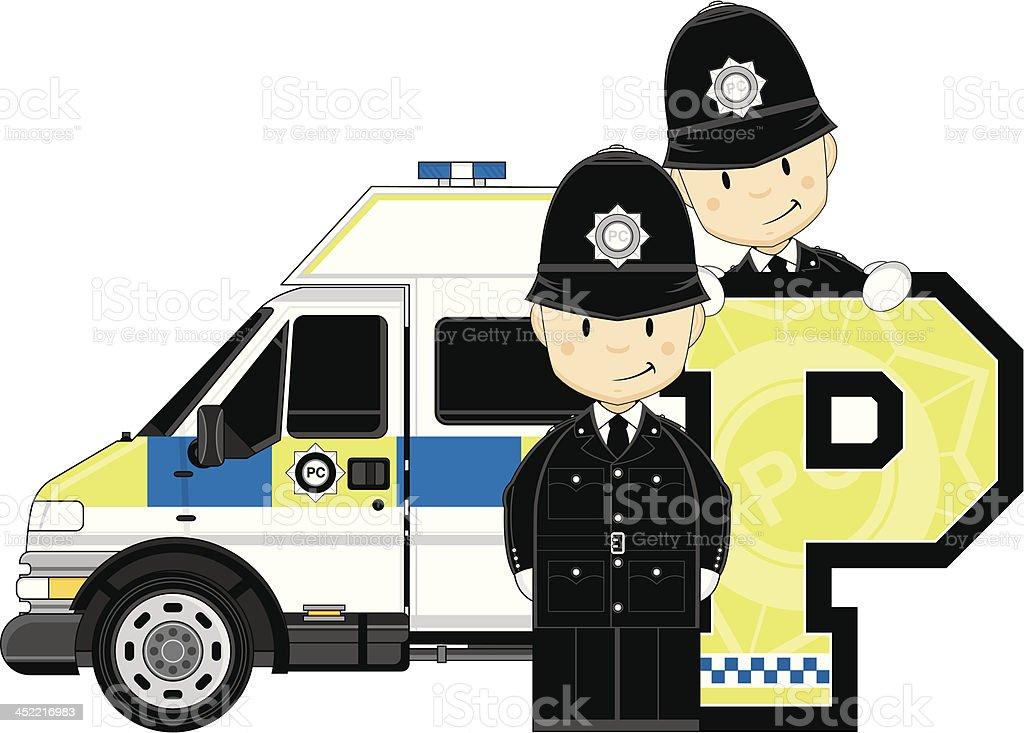 Cute British Policemen Letter P royalty-free stock vector art