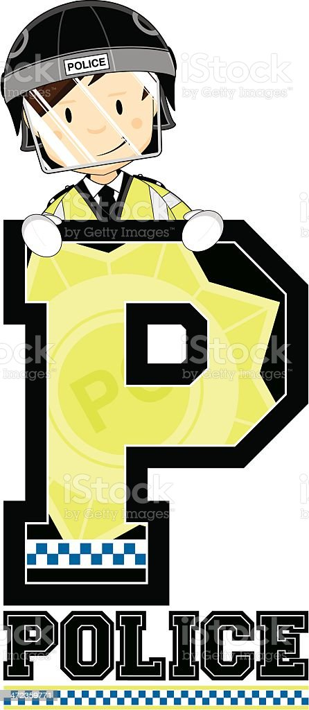 Cute British Riot Policeman Letter P royalty-free stock vector art