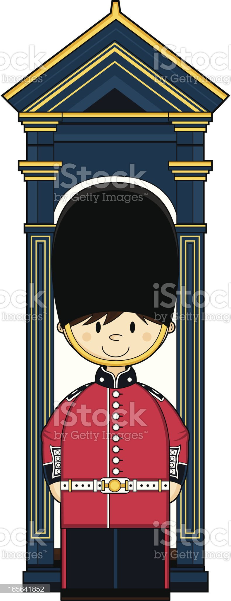 Cute British Royal Foot Guard royalty-free stock vector art