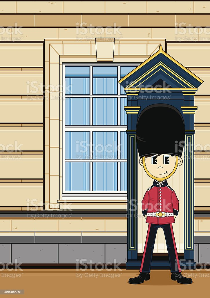 Cute British Royal Guard at the Palace royalty-free stock vector art