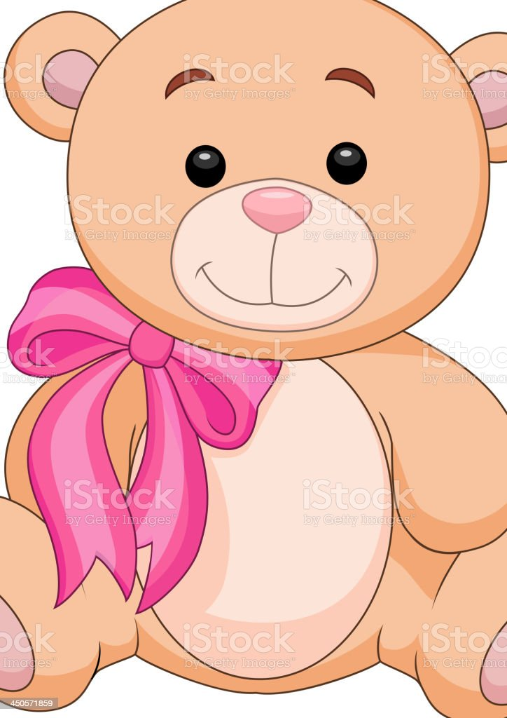 Cute brown bear stuff cartoon vector art illustration
