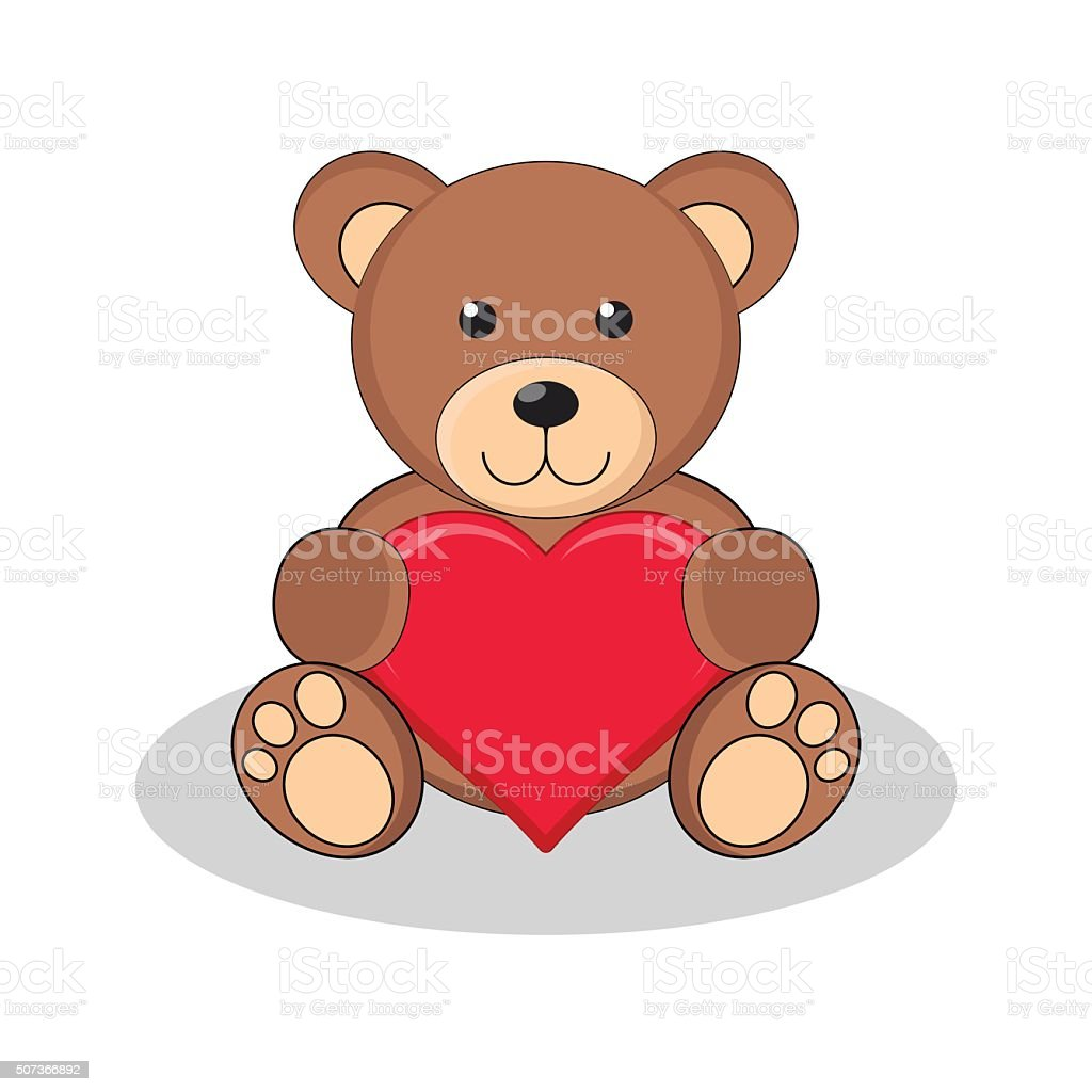 Cute brown teddy bear holding red heart. vector art illustration