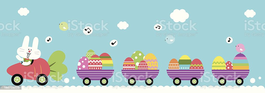 Cute Bunny Driving Carrot Car, Carrying Easter Egg vector art illustration