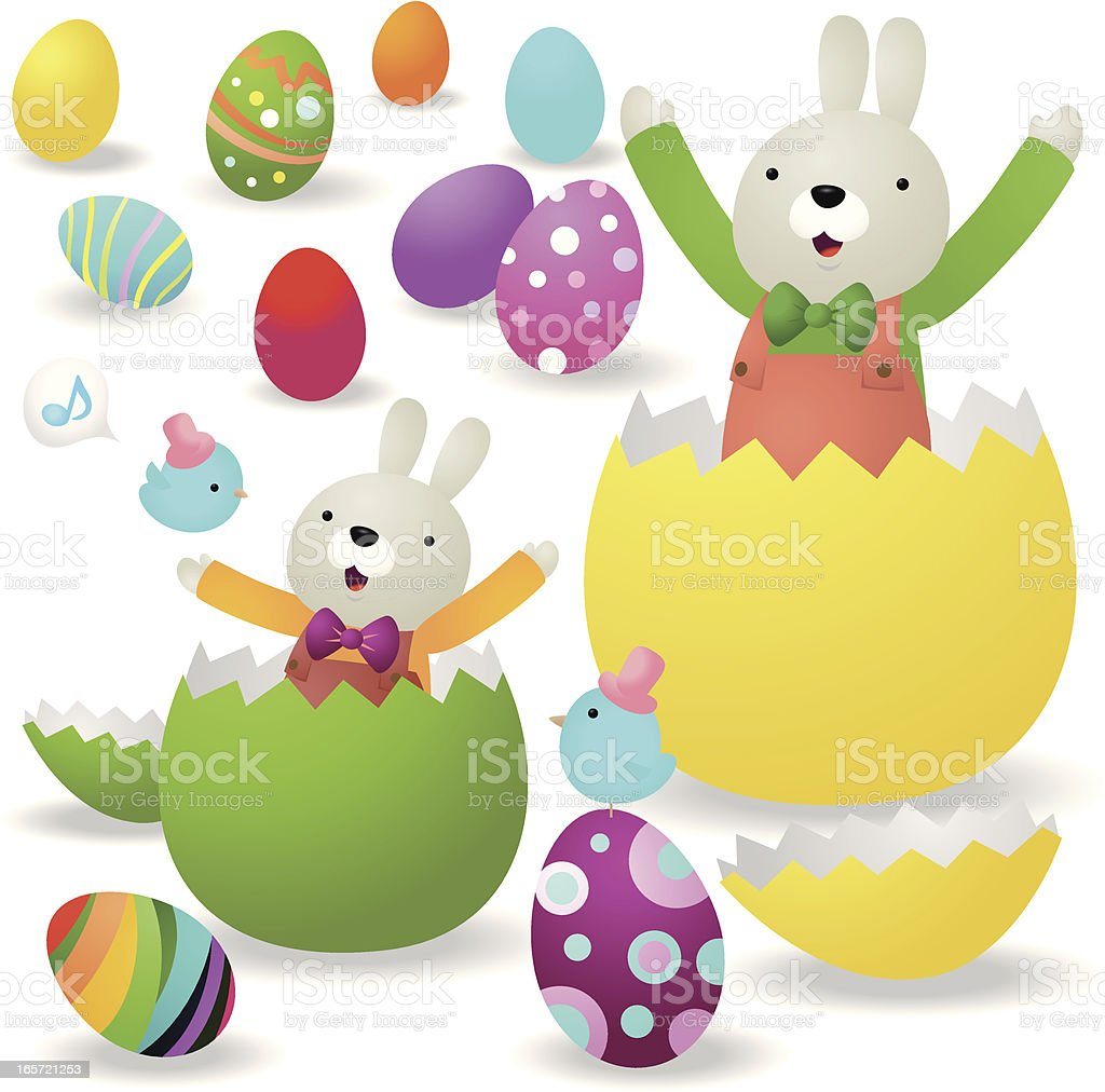 cute bunny family and multicolored easter eggs stock vector art
