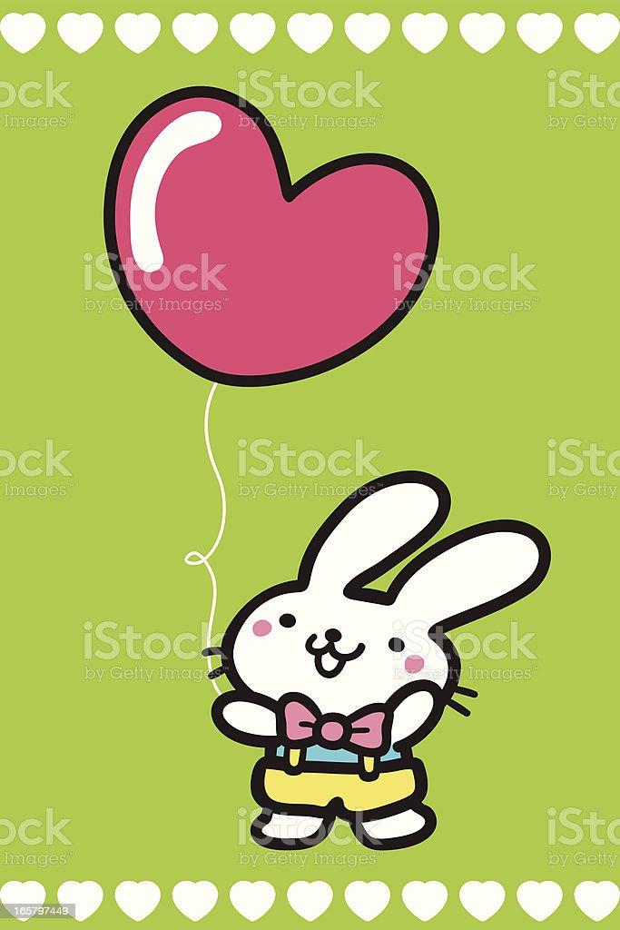 Cute Bunny holding a Heart Shaped Balloon vector art illustration