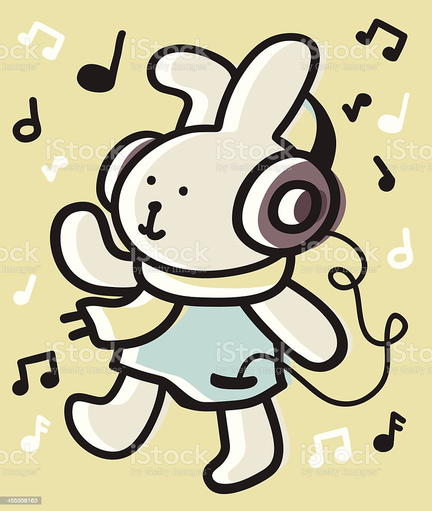 Cute Bunny listen to music with headphones royalty-free stock vector art
