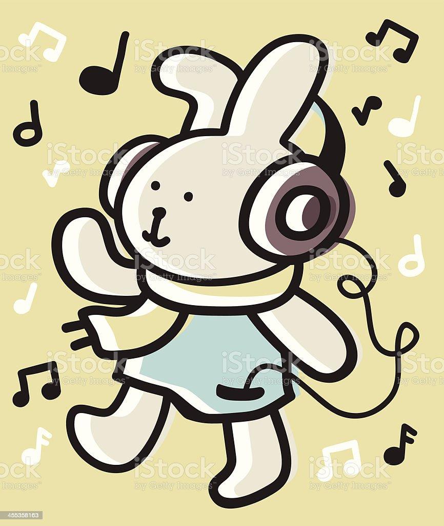 Cute Bunny listen to music with headphones vector art illustration