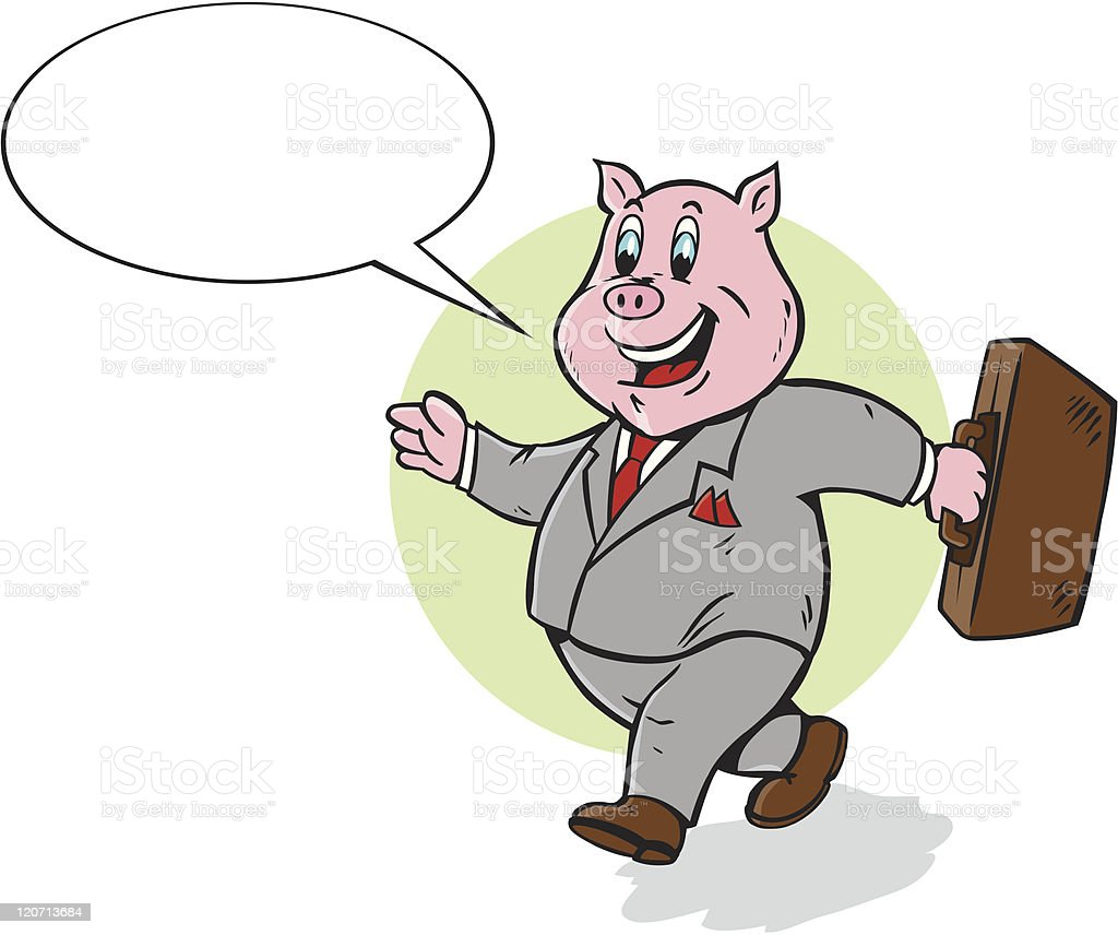 Cute Business Pig royalty-free stock vector art