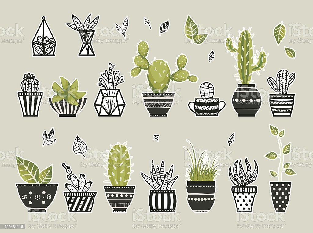 Cute cacti, flowerpots. vector art illustration
