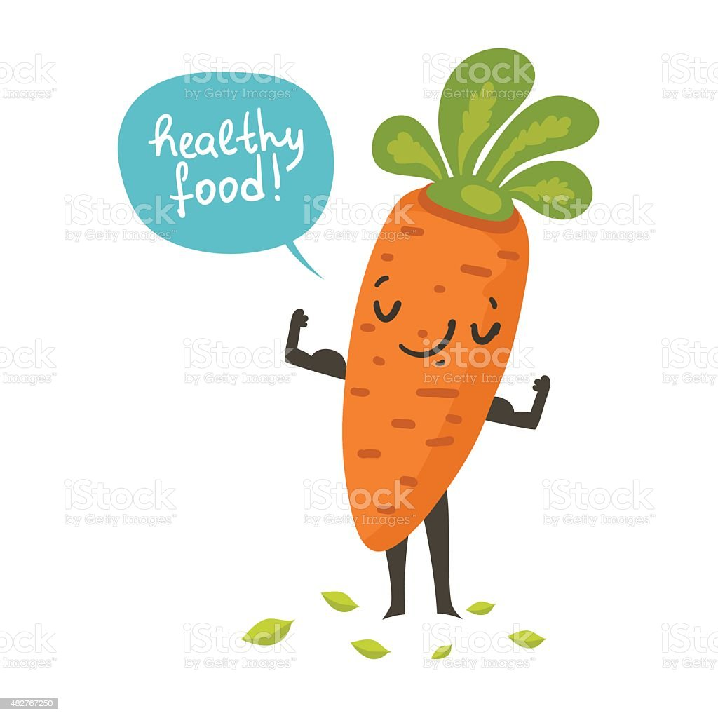 Cute carrot cartoon character posing and demonstrating its muscles vector art illustration