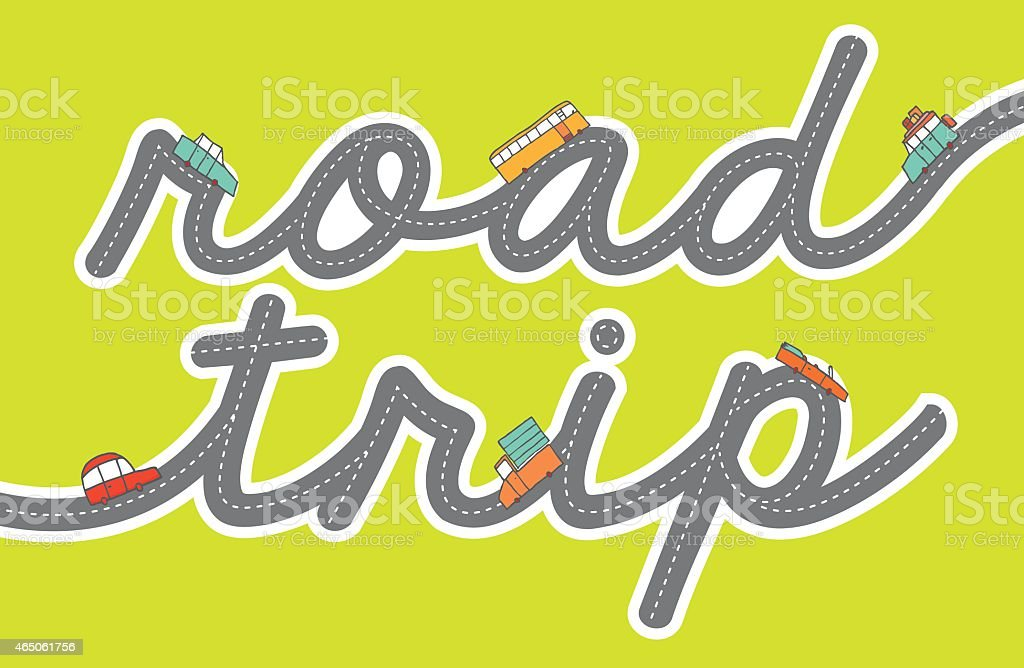 Cute cars driving on a road trip vector art illustration