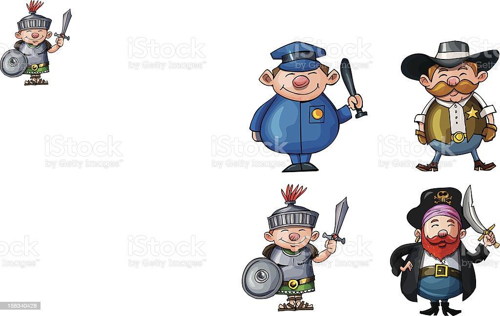 Cute cartoon action men royalty-free stock vector art