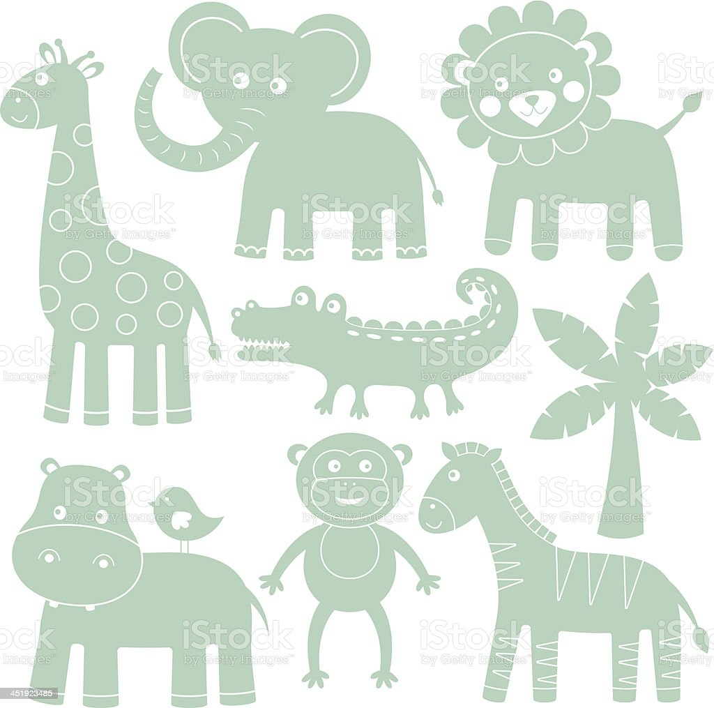 Cute cartoon animals vector art illustration