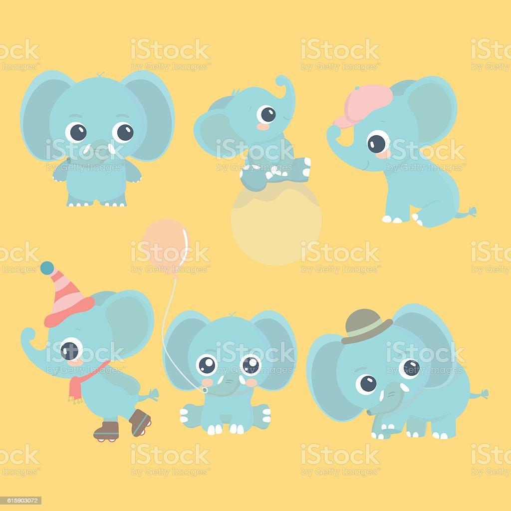 cute cartoon baby elephant set stock vector art 615903072 istock
