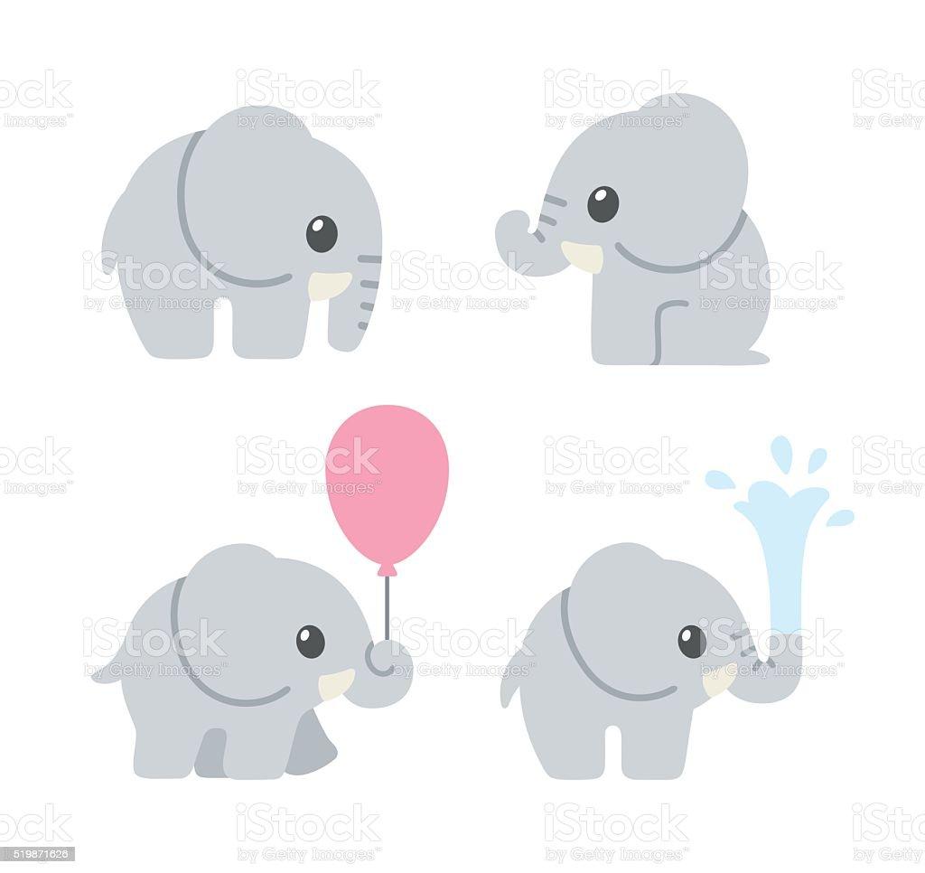 Cute cartoon baby elephant vector art illustration