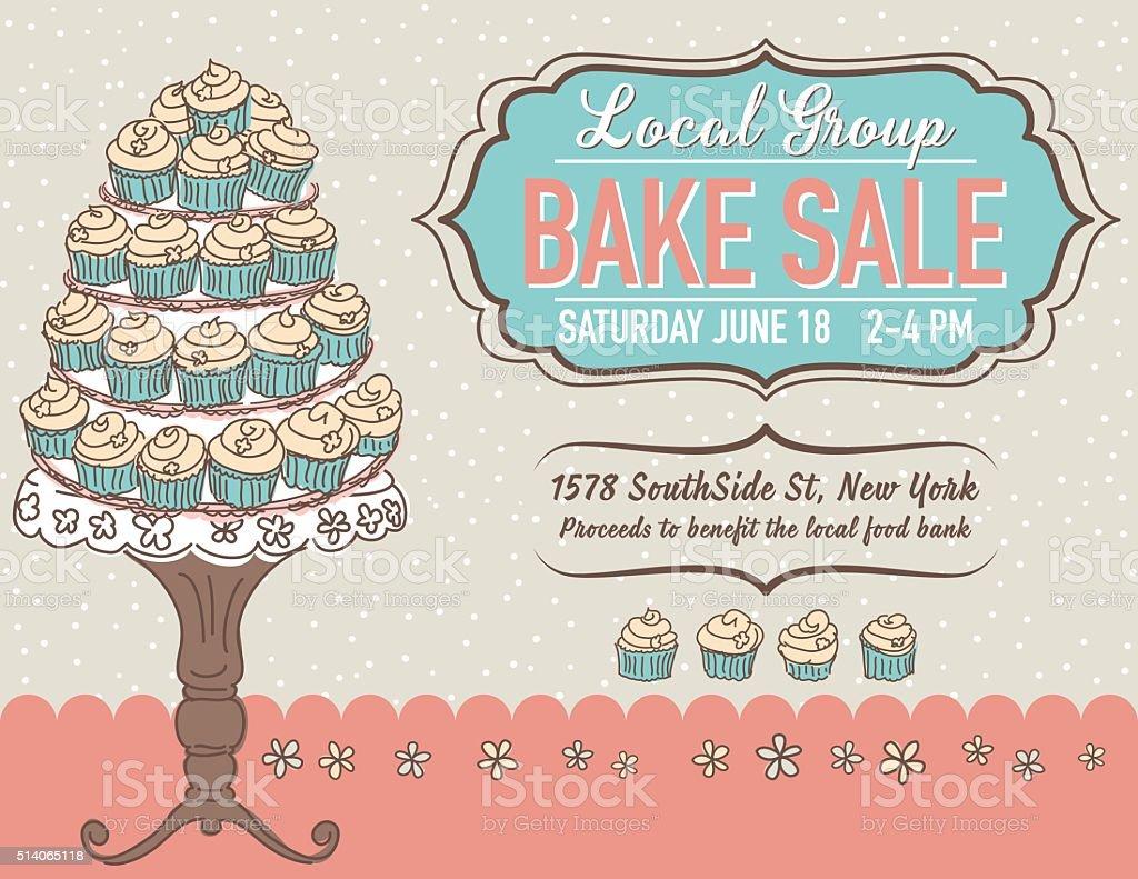 Cute Cartoon Bake Sale Flyer Template vector art illustration