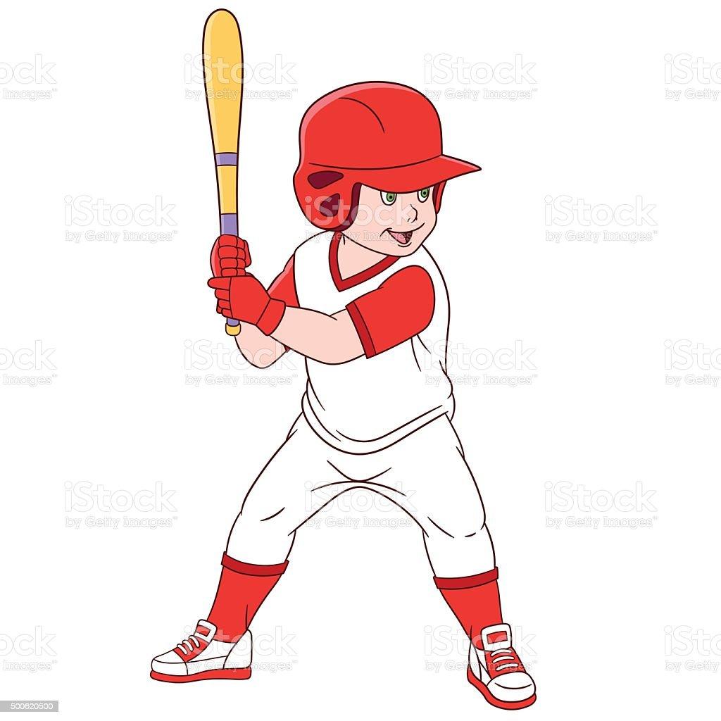 cute cartoon baseball player vector art illustration