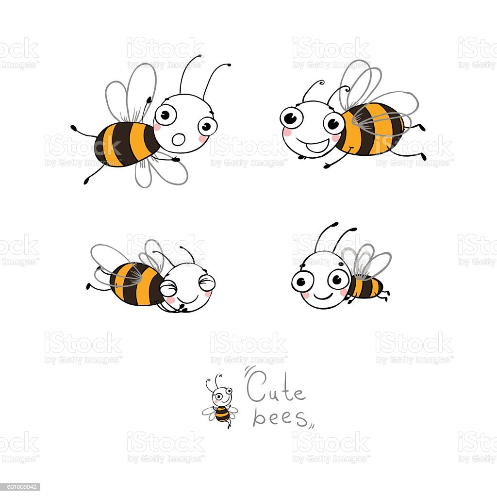 Cute cartoon bees. vector art illustration
